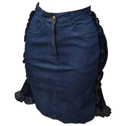 Moschino 1990s Faux-Cul Denim Blue Vintage Mini Skirt