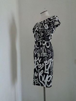 Moschino Couture Graffiti Print Black Vintage Dress