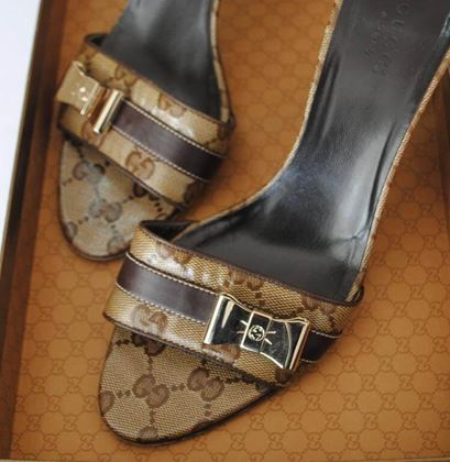Gucci GG Logo High Heel Brown Vintage Sandals