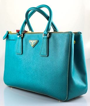 Prada Saffiano Lux Double Zip Med Turquoise Vintage Tote Bag