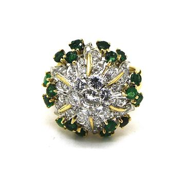 Diamond & emerald vintage ladies cocktail ring