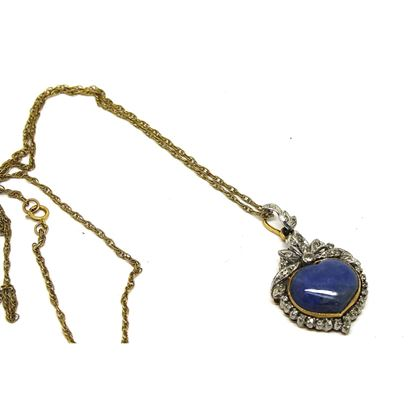 Lapis Lazuli antique platinum & gold diamond necklace