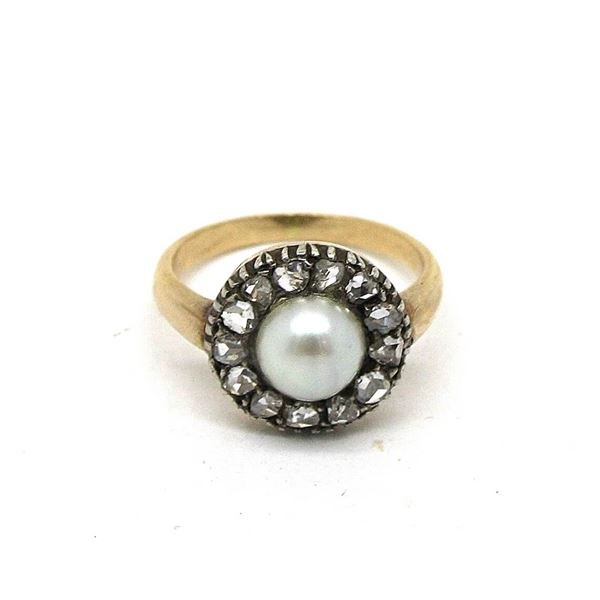 Antique pearl diamond & 15ct gold vintage ring