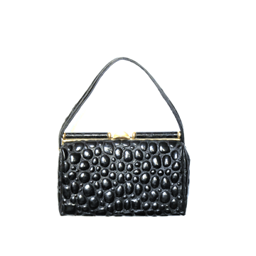 Vintage 196's faux Alligator brass embellished black bag