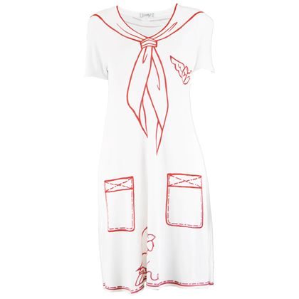 JC De Castelbajac 1990s White & Red Trompe L'oeil Dress