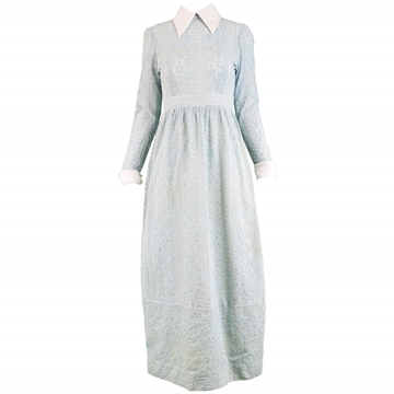 Victor Costa 1970s Broderie Anglaise Vintage Maxi Dress