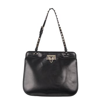 Valentino Leather Rockstud black vintage Shoulder Bag