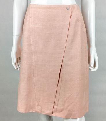 Chanel Pale Pink A-Line Silk Skirt - 2001