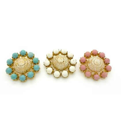 Mitchel Maer for Christian Dior 1950s Three Gilt Gold Filigree and Coloured Bead Vintage Brooches