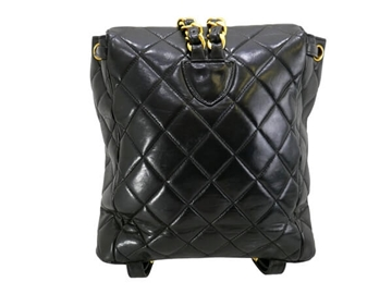Chanel 1990s Quilted Leather Black Vintage Back Pack