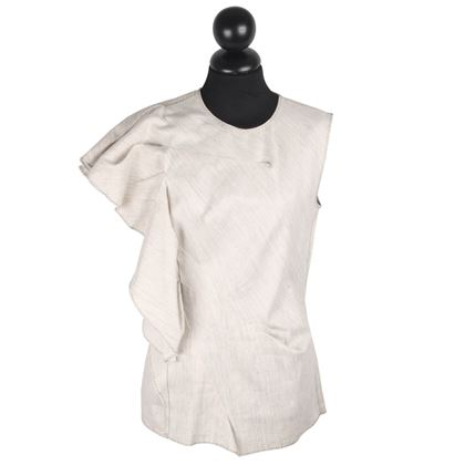 Lanvin SS16 Ruffle Trim Linen and Cotton Stone Grey Vintage Sleeveless Top
