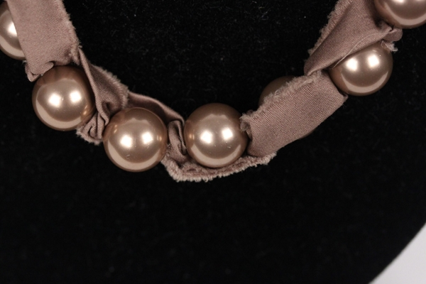 Lanvin Taupe Grosgrain Ribbon & Pearls vintage Necklace