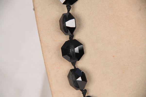 Lanvin Satin Ribbon & Faceted Glass Beads black vintage Necklace