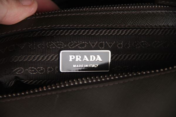 Prada Saffiano Leather Zip Top  Military Green vintage Briefcase