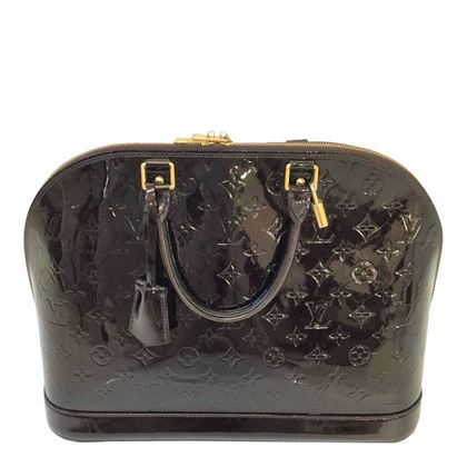 Picture of Louis Vuitton Alma Vernis Monogram Embossed Patent Dark Purple Vintage Handbag