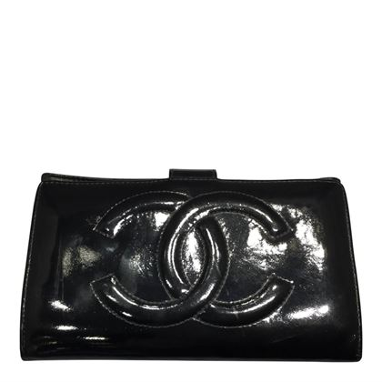 Chanel wallet patent leather black vintage wallet
