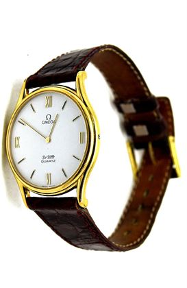 Omega 1980s DeVille Slimline Gold Plated Mens Vintage Watch