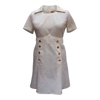 Diolen Loft 1960s textured fabric gold button white vintage dress