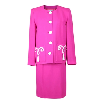 Picture of Yves Saint Laurent 1980s / 1990s wool blend hot pink vintage skirt suit