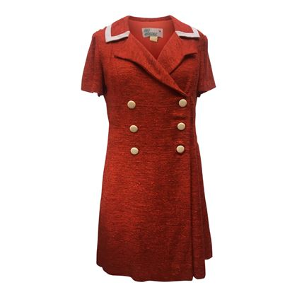 Fred Rothschild of California 1960s Linen Double Breasted Red Vintage dress
