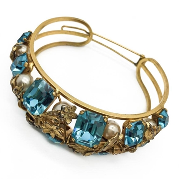 Vintage 1950s Blue Crystal and Pearl Set Floral Gold Tone Hair Accessory