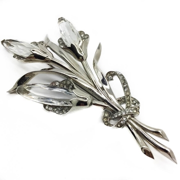 Mazer 1940s Very Large Calla Lilly Crystal Vintage Brooch