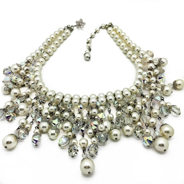 VENDOME 1950s CRYSTAL PEARL Vintage COLLAR AND CUFF BRACELET Set