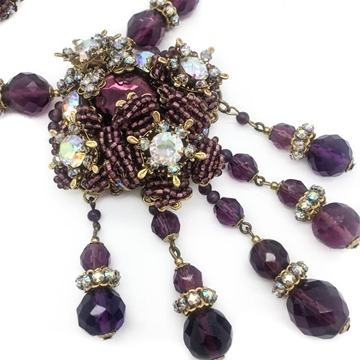 Miriam Haskell 1950s Amethyst Crystal Vintage Necklace and Earrings Set