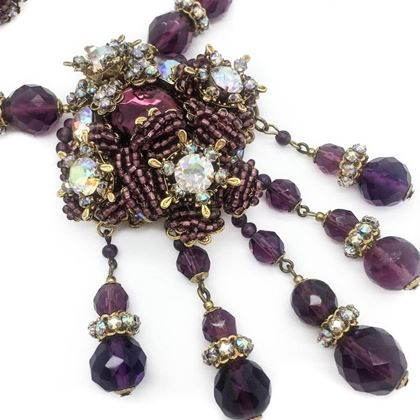 Miriam Haskell Amethyst Crystal Necklace and Earrings