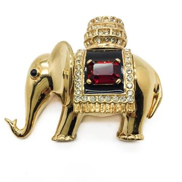 CINER 1980s-1990s Gilt Jewelled and Faux Ruby Elephant Vintage Brooch