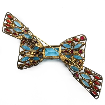 Vogue 1940's Very Large Sterling Silver Vermeil Crystal Bow Vintage Brooch