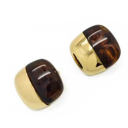 GIVENCHY Faux Tortoiseshell and Gilt Clip 1977 Vintage Earrings