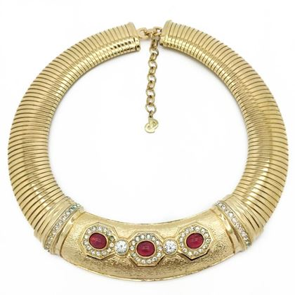 Christian Dior 1990s Gilt Crystal and faux cabochon ruby Set vintage Collar necklace