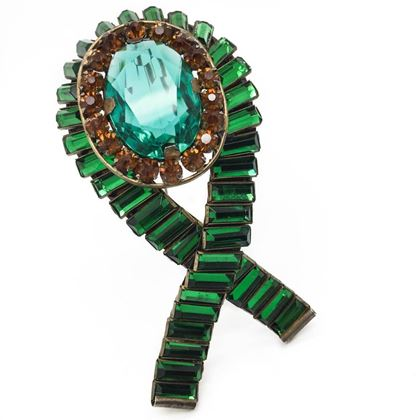 SANDOR 1940's Green and Amber Crystal Crossover Brooch in Sterling Silver