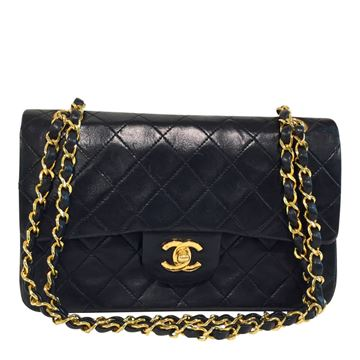 Chanel classic flap lambs leather black vintage shoulder bag