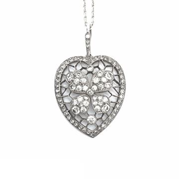 Antique Early 20th Century Silver and Paste Heart Flower Pendant Necklace