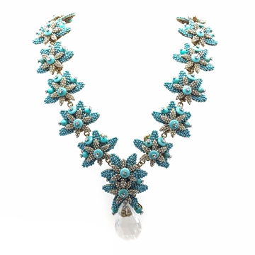 Stanley Hagler Beaded Faux Turquoise Floral Vintage Necklace