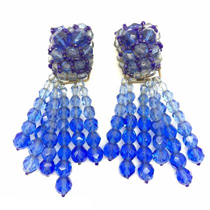 Phenomenal Coppola e Toppo Blue Crystal Tassel Earrings 1950s