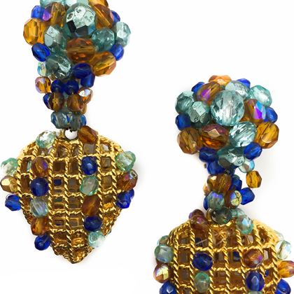Vintage 1950s French Crystal Gilt Heart Basket Earrings