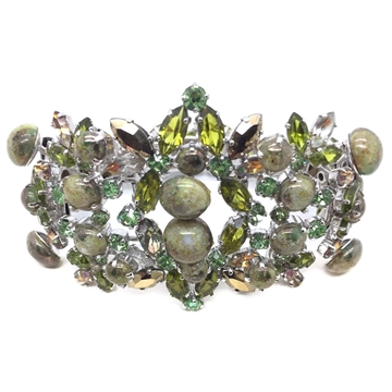 Christian DIOR 1950s Art Glass and Crystal Vintage Cuff Bracelet
