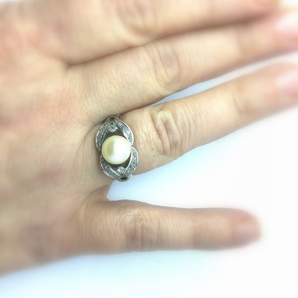 Picture of Antique French cultured pearl and diamond platinum ladies ring