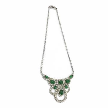 Christian Dior 1970s  Faux Emerald and Diamond Crystal Vintage Cocktail Necklace