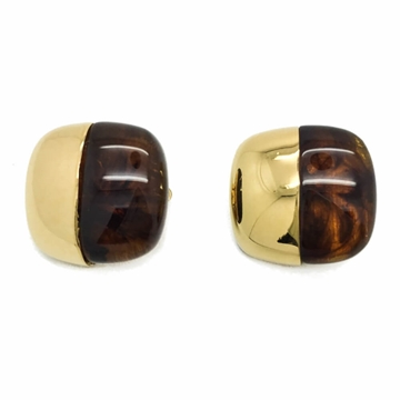 GIVENCHY 1970s Modernist Faux Tortoiseshell and Gilt Clip Vintage Earrings