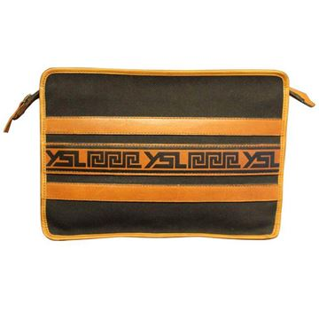 Yves Saint Laurent Greek Inspired Print Black Vintage Clutch Bag