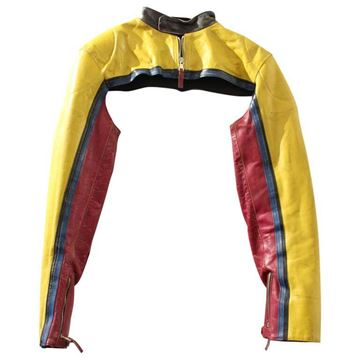 Jean Paul Gaultier Yellow Vintage Leather Shoulder Biker Jacket