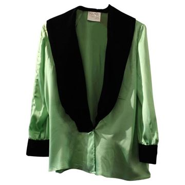 Yves Saint Laurent Velvet Collar Detail Green VIntage Silk Blouse