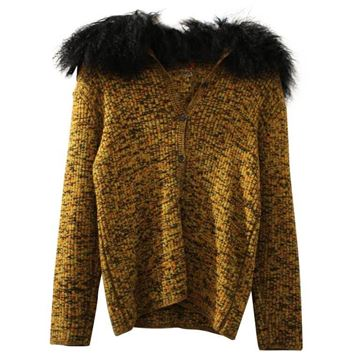 Yves Saint Laurent Wool and Mohair Collar Detail Brown Vintage Pullover Sweater