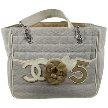 Chanel 2005 Camelia No5 Canvas Patent Leather Beige Vintage Tote Bag