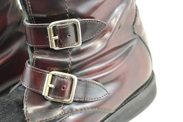 Alexander McQueen Calfskin and Patent Leather Red Vintage Buckle Boots