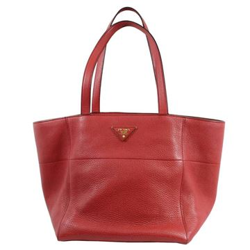 Prada Grained Leather Red Vintage Tote Bag
